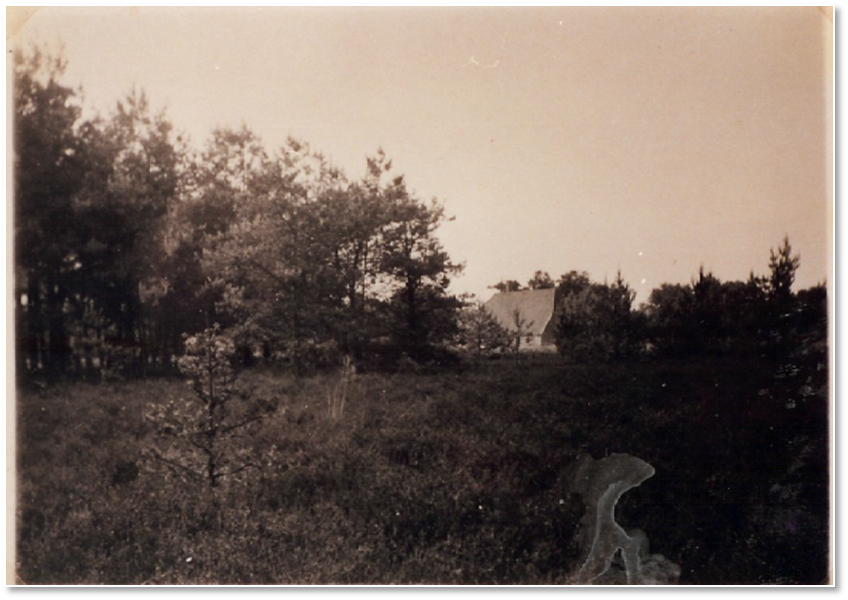 Laag Wolfheze gezien vanuit de Knollenkamp in 1938. De herkomst van de afbeelding is onbekend. Op de achterkant staat 'Sokkenhuisje' geschreven.